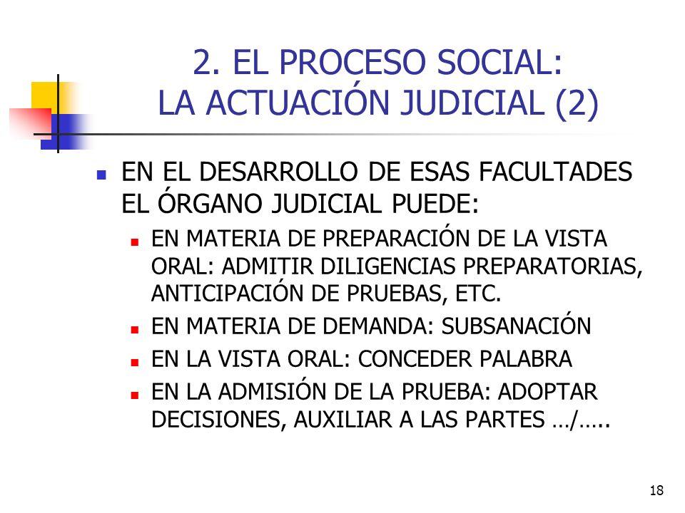 18 2. EL PROCESO SOCIAL: LA ACTUACIÓN JUDICIAL (2) EN EL DESARROLLO DE ESAS FACULTADES EL ÓRGANO JUDICIAL PUEDE: EN MATERIA DE PREPARACIÓN DE LA VISTA