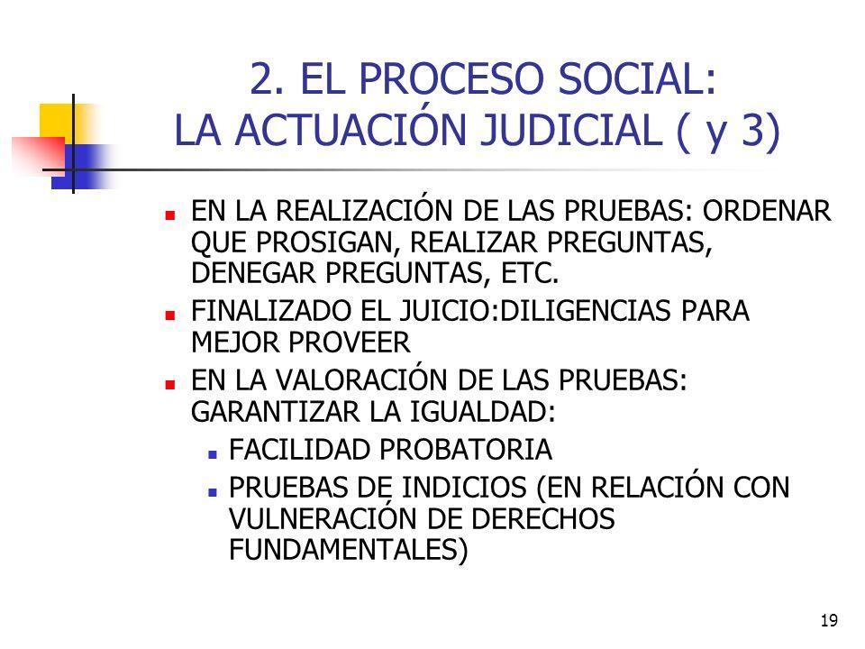 19 2. EL PROCESO SOCIAL: LA ACTUACIÓN JUDICIAL ( y 3) EN LA REALIZACIÓN DE LAS PRUEBAS: ORDENAR QUE PROSIGAN, REALIZAR PREGUNTAS, DENEGAR PREGUNTAS, E
