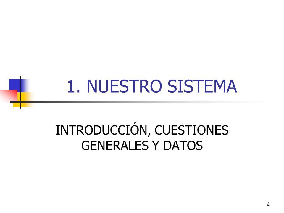 2 1. NUESTRO SISTEMA INTRODUCCIÓN, CUESTIONES GENERALES Y DATOS