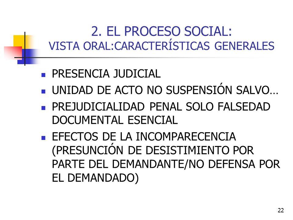 22 2. EL PROCESO SOCIAL: VISTA ORAL:CARACTERÍSTICAS GENERALES PRESENCIA JUDICIAL UNIDAD DE ACTO NO SUSPENSIÓN SALVO… PREJUDICIALIDAD PENAL SOLO FALSED