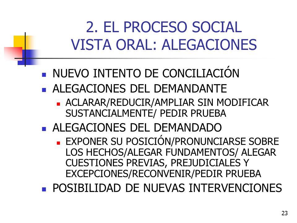 23 2. EL PROCESO SOCIAL VISTA ORAL: ALEGACIONES NUEVO INTENTO DE CONCILIACIÓN ALEGACIONES DEL DEMANDANTE ACLARAR/REDUCIR/AMPLIAR SIN MODIFICAR SUSTANC