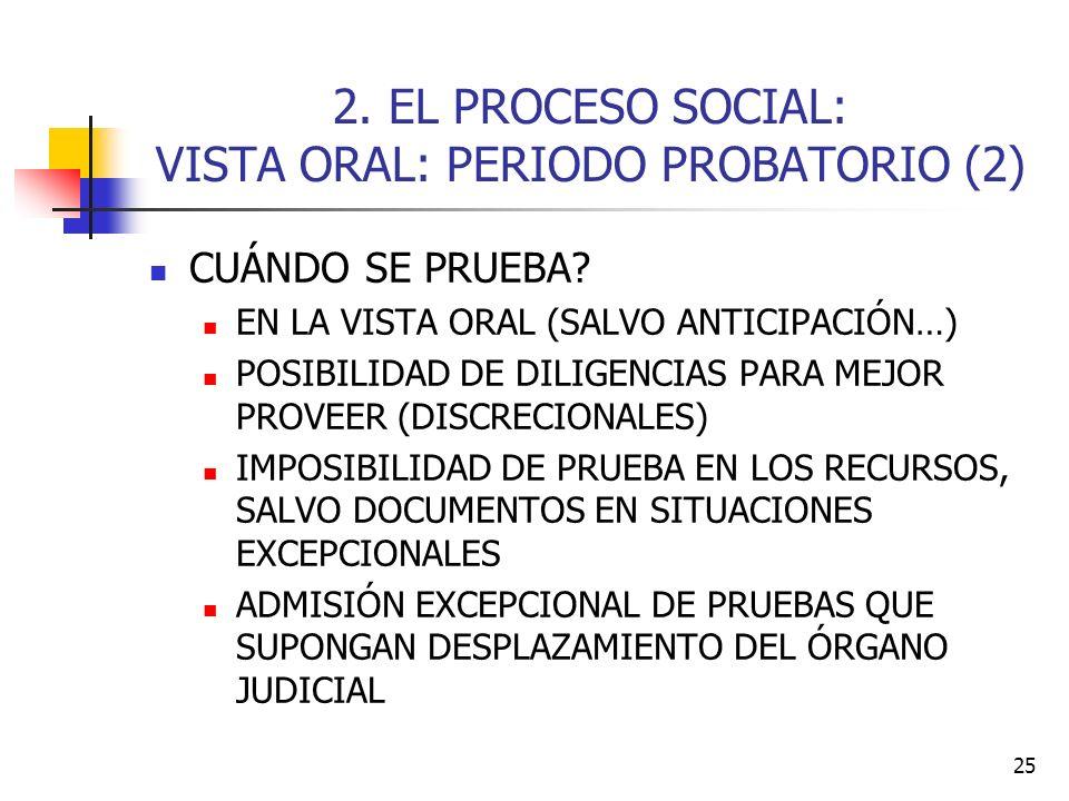 25 2. EL PROCESO SOCIAL: VISTA ORAL: PERIODO PROBATORIO (2) CUÁNDO SE PRUEBA? EN LA VISTA ORAL (SALVO ANTICIPACIÓN…) POSIBILIDAD DE DILIGENCIAS PARA M