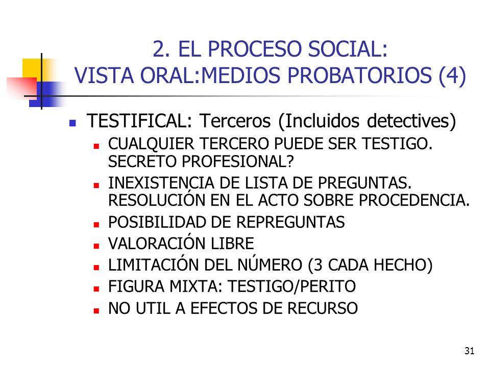 31 2. EL PROCESO SOCIAL: VISTA ORAL:MEDIOS PROBATORIOS (4) TESTIFICAL: Terceros (Incluidos detectives) CUALQUIER TERCERO PUEDE SER TESTIGO. SECRETO PR