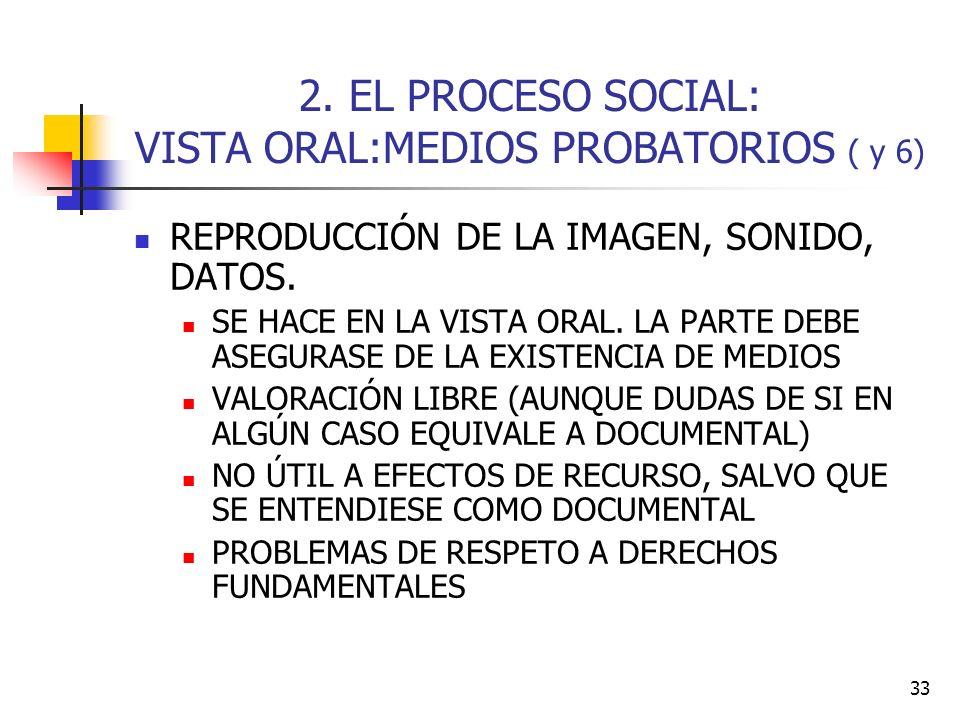 33 2. EL PROCESO SOCIAL: VISTA ORAL:MEDIOS PROBATORIOS ( y 6) REPRODUCCIÓN DE LA IMAGEN, SONIDO, DATOS. SE HACE EN LA VISTA ORAL. LA PARTE DEBE ASEGUR