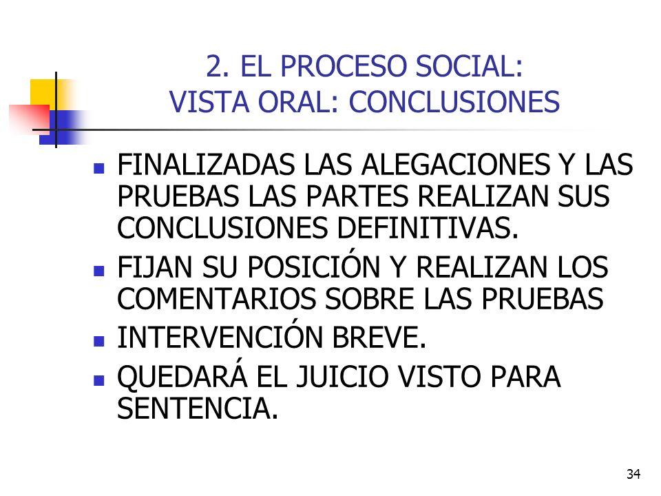 34 2. EL PROCESO SOCIAL: VISTA ORAL: CONCLUSIONES FINALIZADAS LAS ALEGACIONES Y LAS PRUEBAS LAS PARTES REALIZAN SUS CONCLUSIONES DEFINITIVAS. FIJAN SU