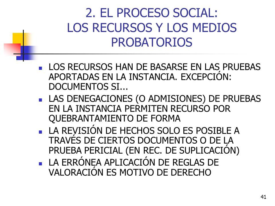 41 2. EL PROCESO SOCIAL: LOS RECURSOS Y LOS MEDIOS PROBATORIOS LOS RECURSOS HAN DE BASARSE EN LAS PRUEBAS APORTADAS EN LA INSTANCIA. EXCEPCIÓN: DOCUME