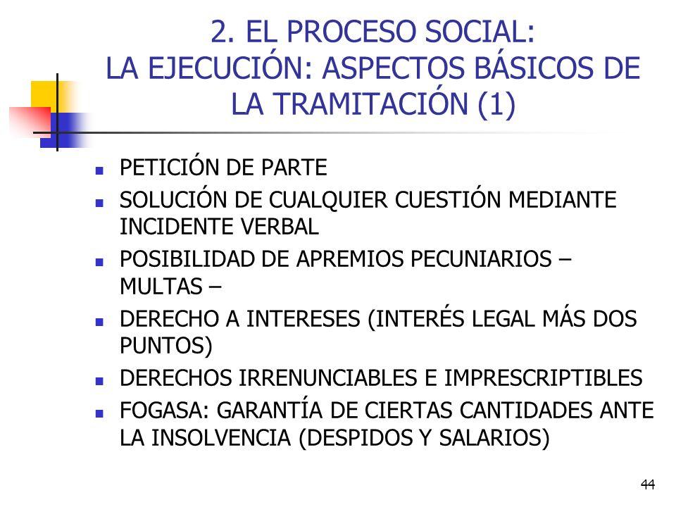 44 2. EL PROCESO SOCIAL: LA EJECUCIÓN: ASPECTOS BÁSICOS DE LA TRAMITACIÓN (1) PETICIÓN DE PARTE SOLUCIÓN DE CUALQUIER CUESTIÓN MEDIANTE INCIDENTE VERB