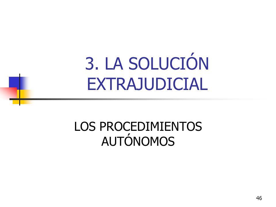 46 3. LA SOLUCIÓN EXTRAJUDICIAL LOS PROCEDIMIENTOS AUTÓNOMOS