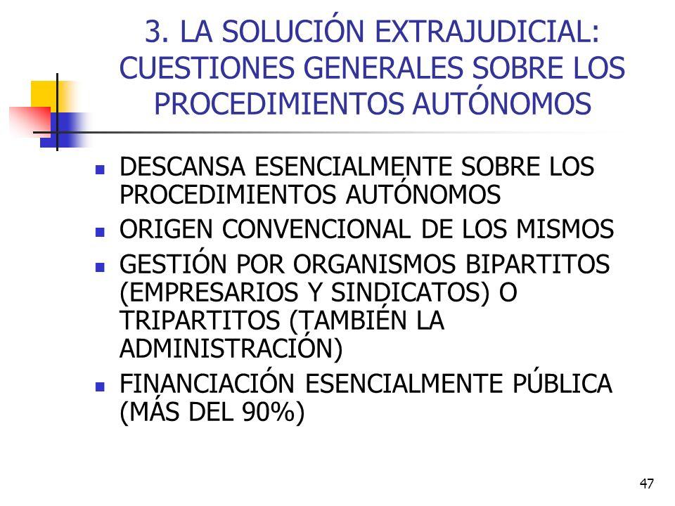 47 3. LA SOLUCIÓN EXTRAJUDICIAL: CUESTIONES GENERALES SOBRE LOS PROCEDIMIENTOS AUTÓNOMOS DESCANSA ESENCIALMENTE SOBRE LOS PROCEDIMIENTOS AUTÓNOMOS ORI