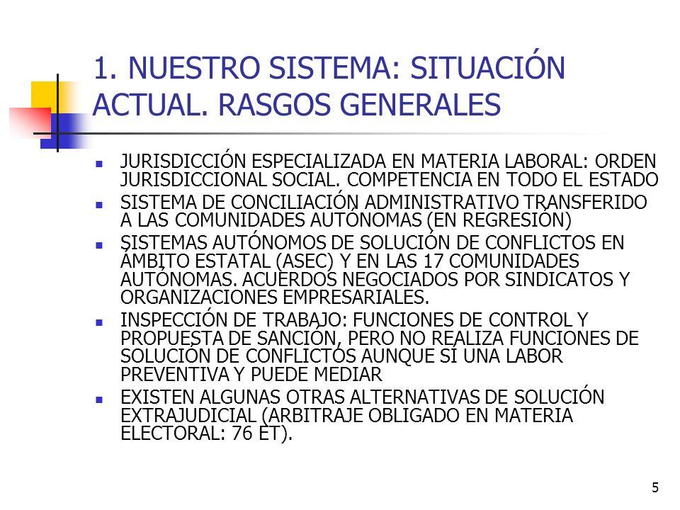 5 1. NUESTRO SISTEMA: SITUACIÓN ACTUAL. RASGOS GENERALES JURISDICCIÓN ESPECIALIZADA EN MATERIA LABORAL: ORDEN JURISDICCIONAL SOCIAL. COMPETENCIA EN TO