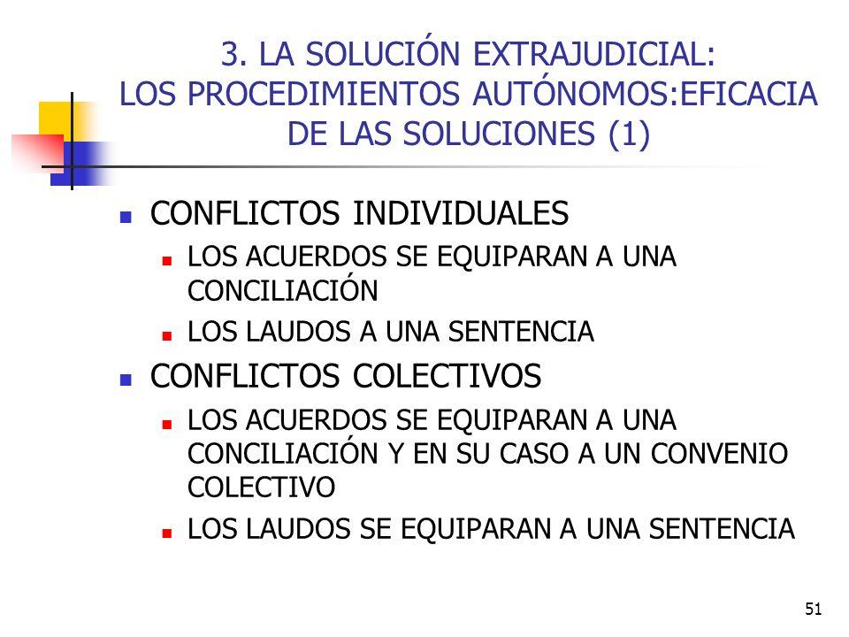 51 3. LA SOLUCIÓN EXTRAJUDICIAL: LOS PROCEDIMIENTOS AUTÓNOMOS:EFICACIA DE LAS SOLUCIONES (1) CONFLICTOS INDIVIDUALES LOS ACUERDOS SE EQUIPARAN A UNA C