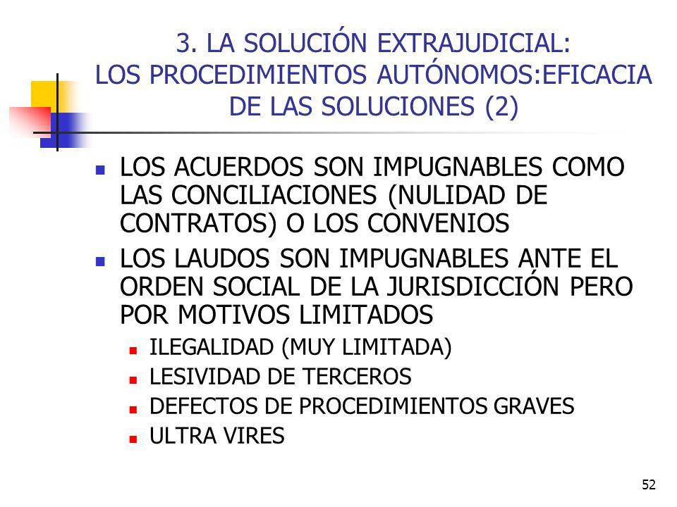 52 3. LA SOLUCIÓN EXTRAJUDICIAL: LOS PROCEDIMIENTOS AUTÓNOMOS:EFICACIA DE LAS SOLUCIONES (2) LOS ACUERDOS SON IMPUGNABLES COMO LAS CONCILIACIONES (NUL