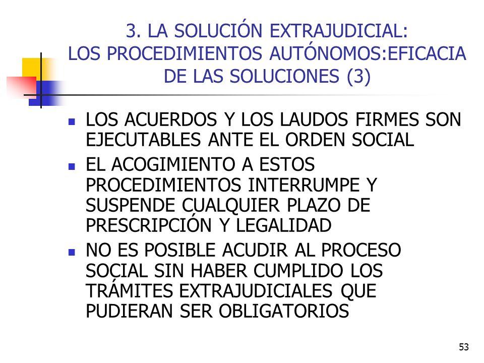 53 3. LA SOLUCIÓN EXTRAJUDICIAL: LOS PROCEDIMIENTOS AUTÓNOMOS:EFICACIA DE LAS SOLUCIONES (3) LOS ACUERDOS Y LOS LAUDOS FIRMES SON EJECUTABLES ANTE EL