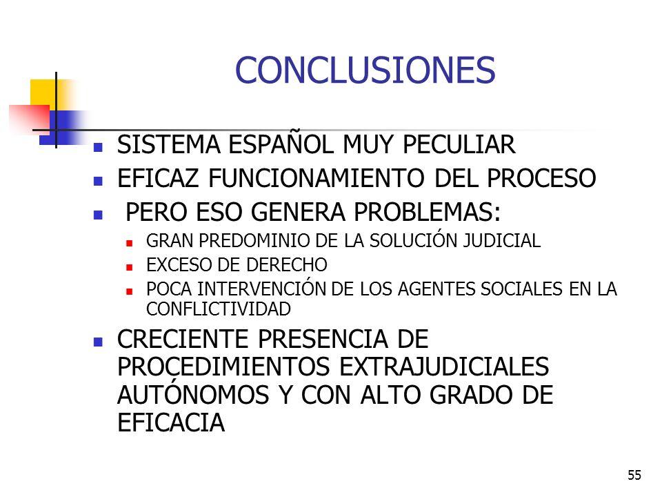 55 CONCLUSIONES SISTEMA ESPAÑOL MUY PECULIAR EFICAZ FUNCIONAMIENTO DEL PROCESO PERO ESO GENERA PROBLEMAS: GRAN PREDOMINIO DE LA SOLUCIÓN JUDICIAL EXCE