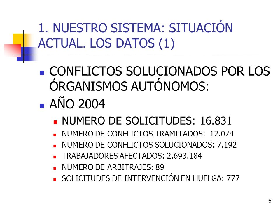6 1. NUESTRO SISTEMA: SITUACIÓN ACTUAL. LOS DATOS (1) CONFLICTOS SOLUCIONADOS POR LOS ÓRGANISMOS AUTÓNOMOS: AÑO 2004 NUMERO DE SOLICITUDES: 16.831 NUM