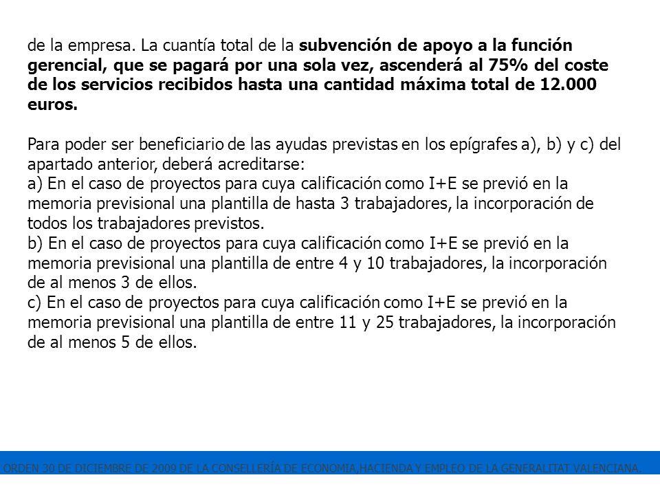 ORDEN 30 DE DICIEMBRE DE 2009 DE LA CONSELLERÍA DE ECONOMIA,HACIENDA Y EMPLEO DE LA GENERALITAT VALENCIANA. de la empresa. La cuantía total de la subv