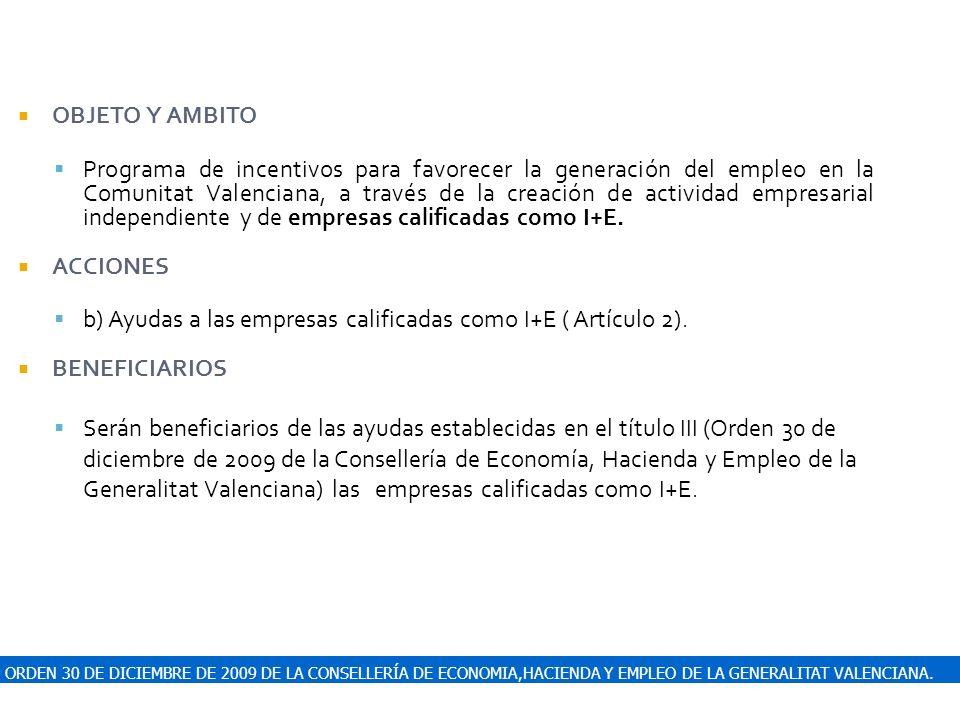 ORDEN 30 DE DICIEMBRE DE 2009 DE LA CONSELLERÍA DE ECONOMIA,HACIENDA Y EMPLEO DE LA GENERALITAT VALENCIANA. OBJETO Y AMBITO Programa de incentivos par