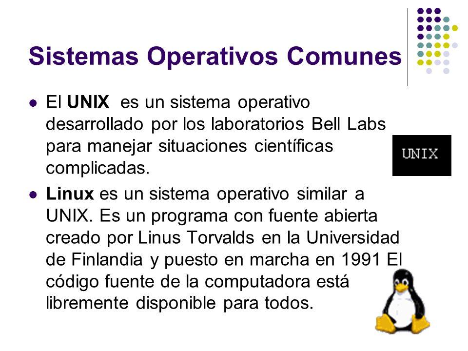 Sistemas Operativos Comunes El UNIX es un sistema operativo desarrollado por los laboratorios Bell Labs para manejar situaciones científicas complicad