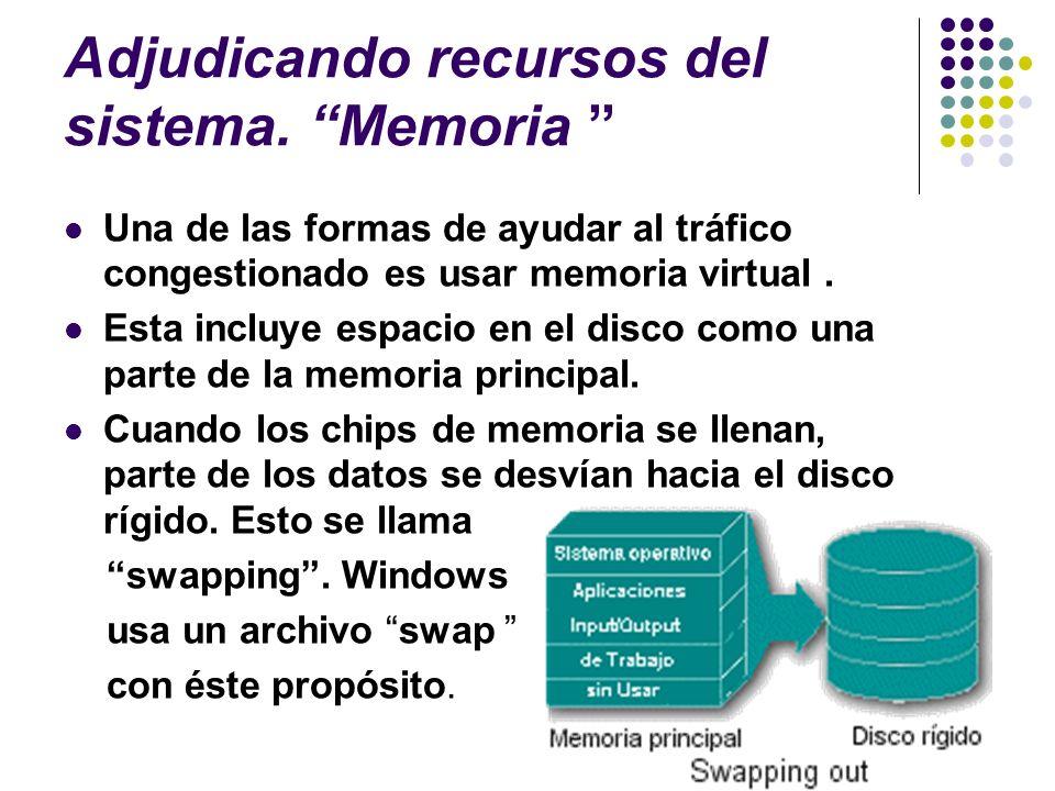 Adjudicando recursos del sistema. Memoria Una de las formas de ayudar al tráfico congestionado es usar memoria virtual. Esta incluye espacio en el dis