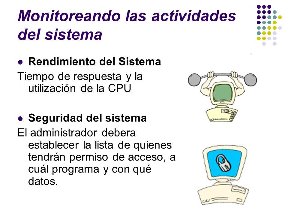 Monitoreando las actividades del sistema Rendimiento del Sistema Tiempo de respuesta y la utilización de la CPU Seguridad del sistema El administrador