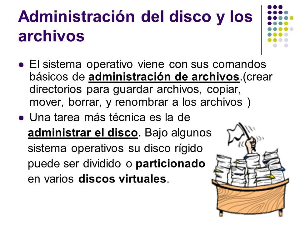 Administración del disco y los archivos El sistema operativo viene con sus comandos básicos de administración de archivos.(crear directorios para guar