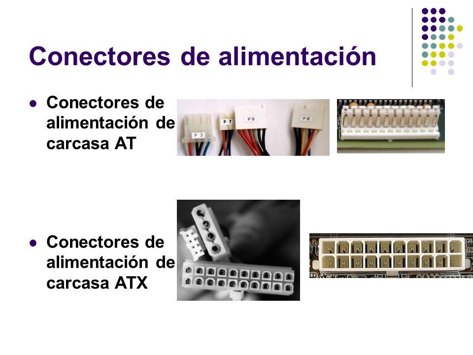 Conectores de alimentación Conectores de alimentación de carcasa AT Conectores de alimentación de carcasa ATX
