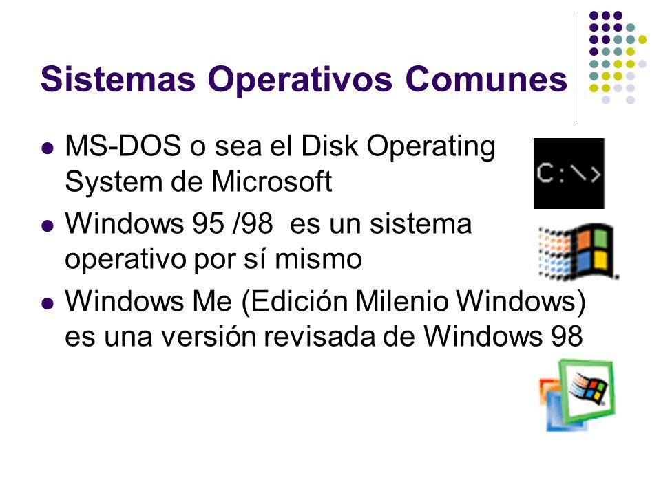 Sistemas Operativos Comunes MS-DOS o sea el Disk Operating System de Microsoft Windows 95 /98 es un sistema operativo por sí mismo Windows Me (Edición