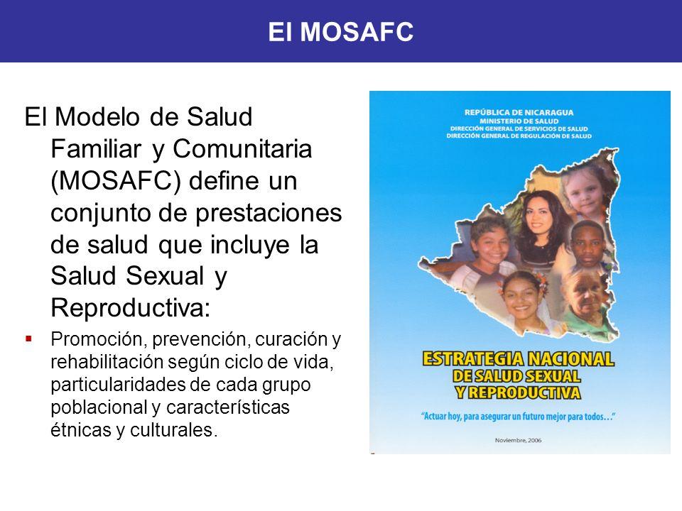 El Modelo de Salud Familiar y Comunitaria (MOSAFC) define un conjunto de prestaciones de salud que incluye la Salud Sexual y Reproductiva: Promoción,