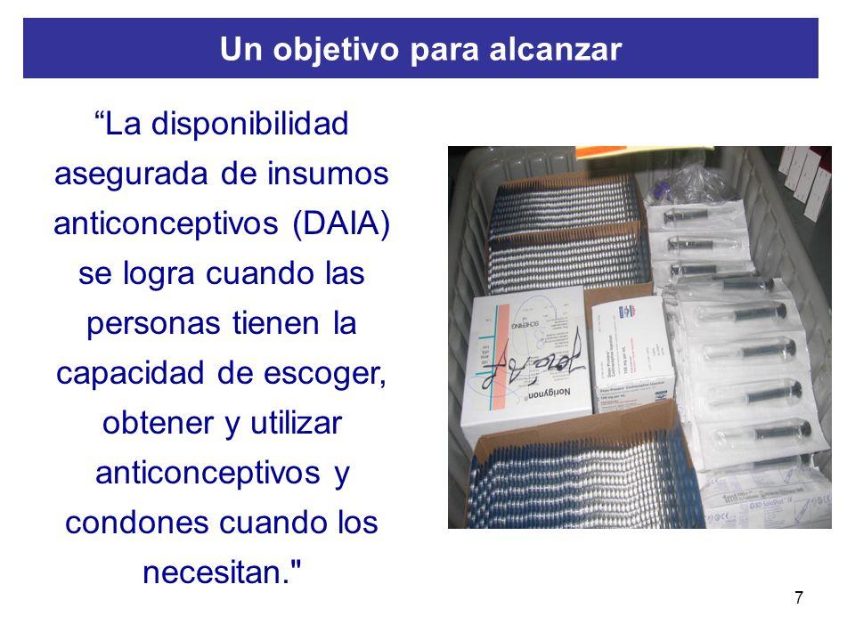 7 La disponibilidad asegurada de insumos anticonceptivos (DAIA) se logra cuando las personas tienen la capacidad de escoger, obtener y utilizar antico