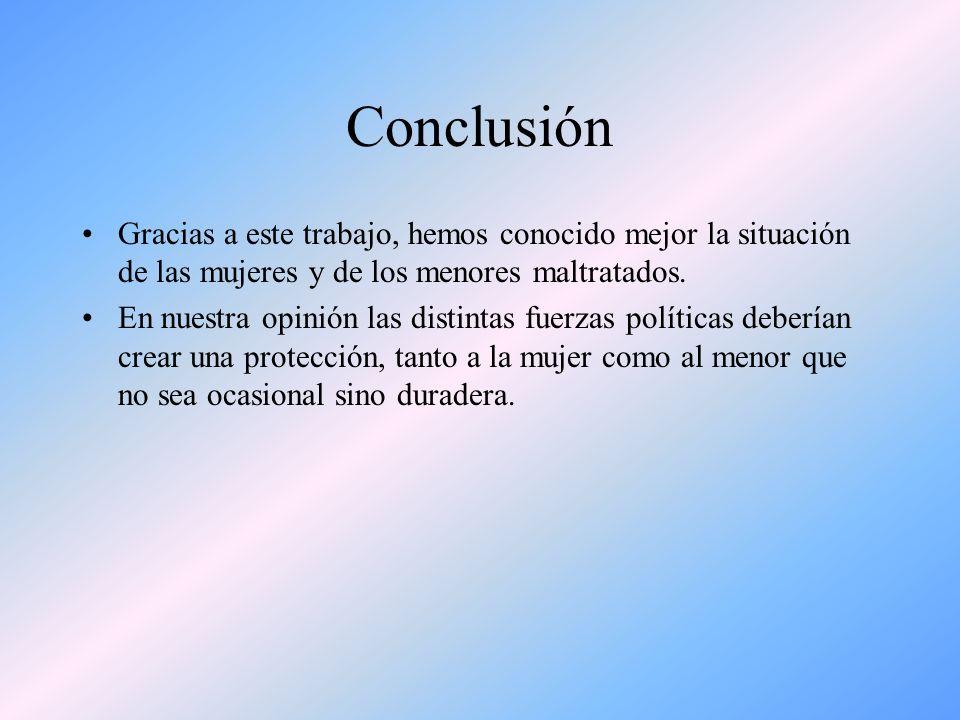 Conclusión Gracias a este trabajo, hemos conocido mejor la situación de las mujeres y de los menores maltratados. En nuestra opinión las distintas fue