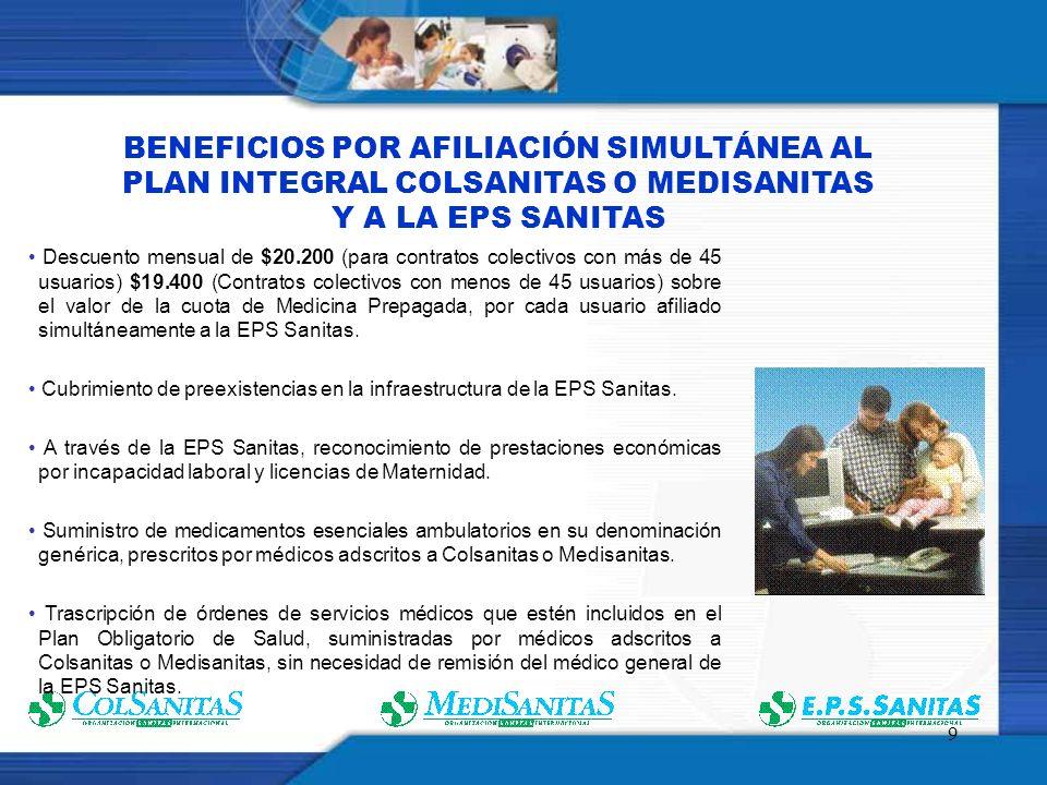 9 BENEFICIOS POR AFILIACIÓN SIMULTÁNEA AL PLAN INTEGRAL COLSANITAS O MEDISANITAS Y A LA EPS SANITAS Descuento mensual de $20.200 (para contratos colectivos con más de 45 usuarios) $19.400 (Contratos colectivos con menos de 45 usuarios) sobre el valor de la cuota de Medicina Prepagada, por cada usuario afiliado simultáneamente a la EPS Sanitas.