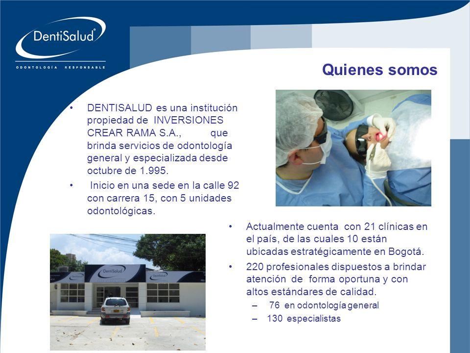 Inversiones Crear Oral Ltda Quienes somos Actualmente cuenta con 21 clínicas en el país, de las cuales 10 están ubicadas estratégicamente en Bogotá. 2