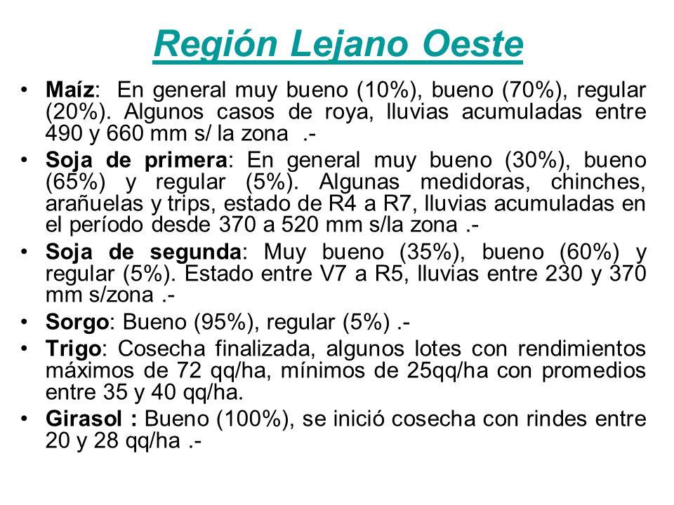 Región Lejano Oeste Maíz: En general muy bueno (10%), bueno (70%), regular (20%). Algunos casos de roya, lluvias acumuladas entre 490 y 660 mm s/ la z