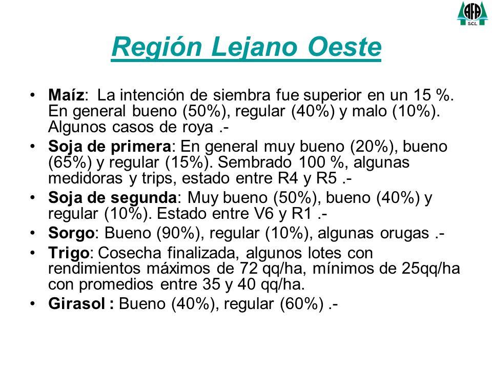 Región Lejano Oeste Maíz: La intención de siembra fue superior en un 15 %. En general bueno (50%), regular (40%) y malo (10%). Algunos casos de roya.-