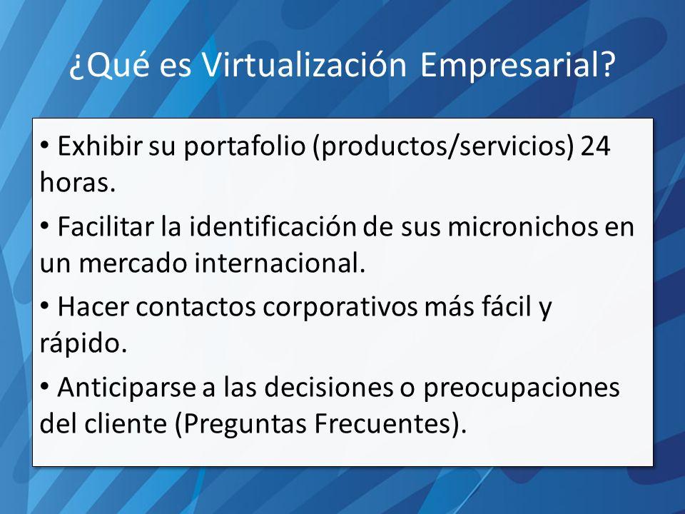 ¿Qué es Virtualización Empresarial. Exhibir su portafolio (productos/servicios) 24 horas.