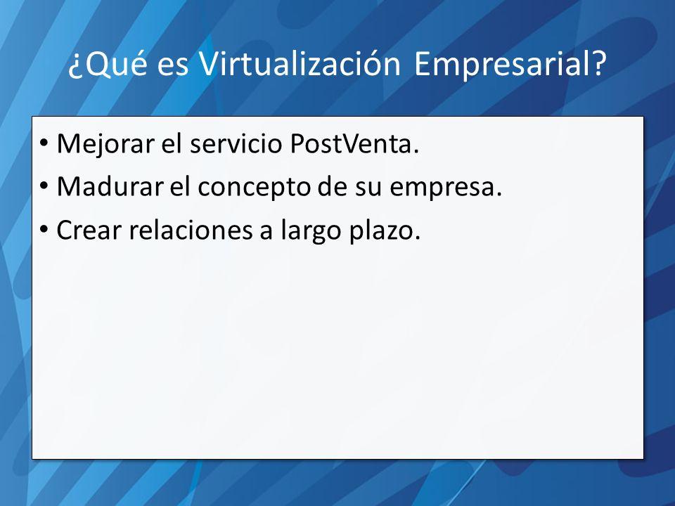 ¿Qué es Virtualización Empresarial. Mejorar el servicio PostVenta.