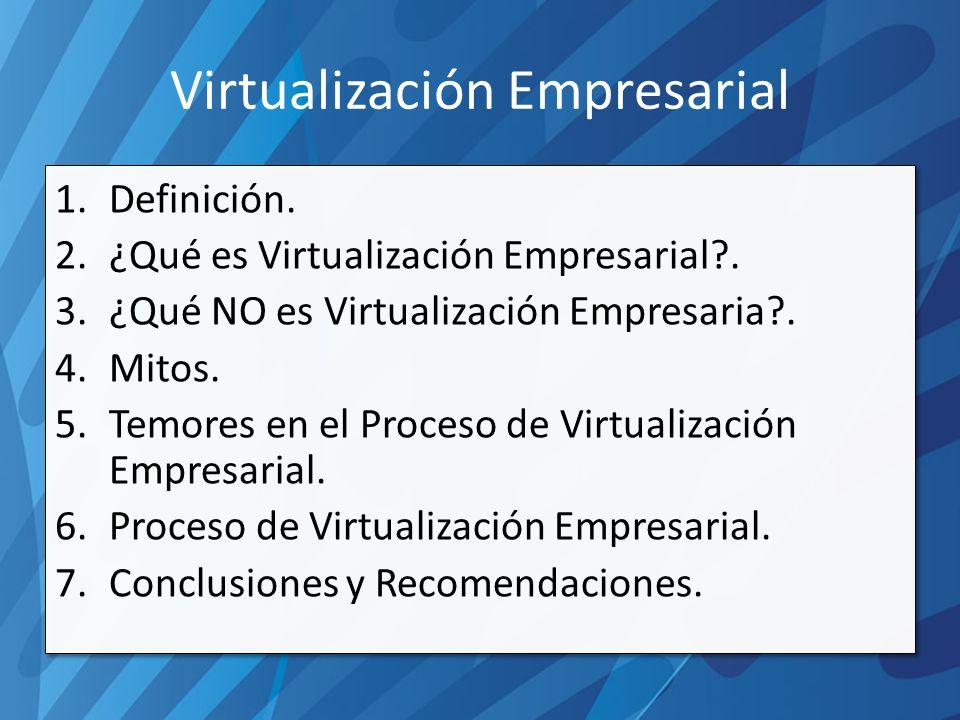 Virtualización Empresarial 1.Definición. 2.¿Qué es Virtualización Empresarial .