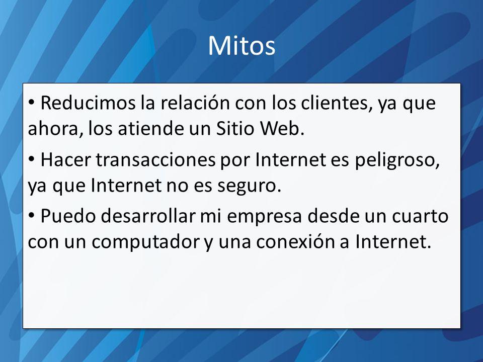 Mitos Reducimos la relación con los clientes, ya que ahora, los atiende un Sitio Web.