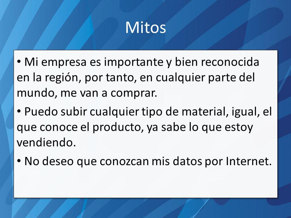 Mitos Mi empresa es importante y bien reconocida en la región, por tanto, en cualquier parte del mundo, me van a comprar.