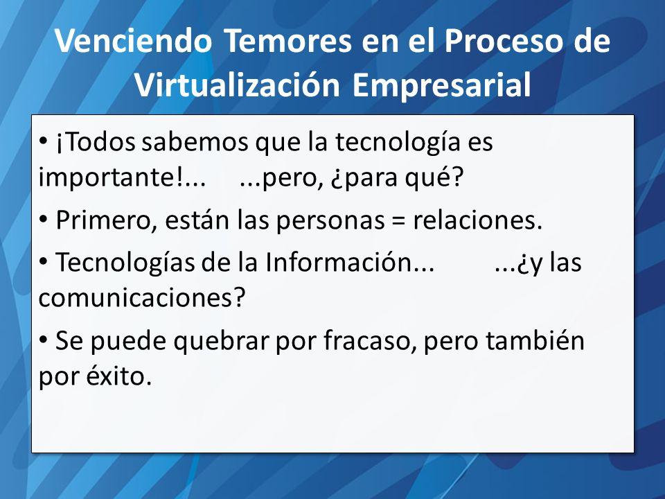 Venciendo Temores en el Proceso de Virtualización Empresarial ¡Todos sabemos que la tecnología es importante!......pero, ¿para qué.