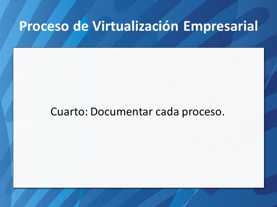 Proceso de Virtualización Empresarial Cuarto: Documentar cada proceso.