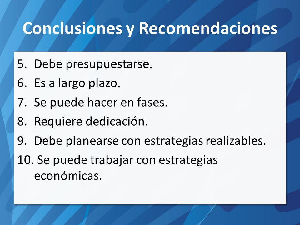 Conclusiones y Recomendaciones 5.Debe presupuestarse.