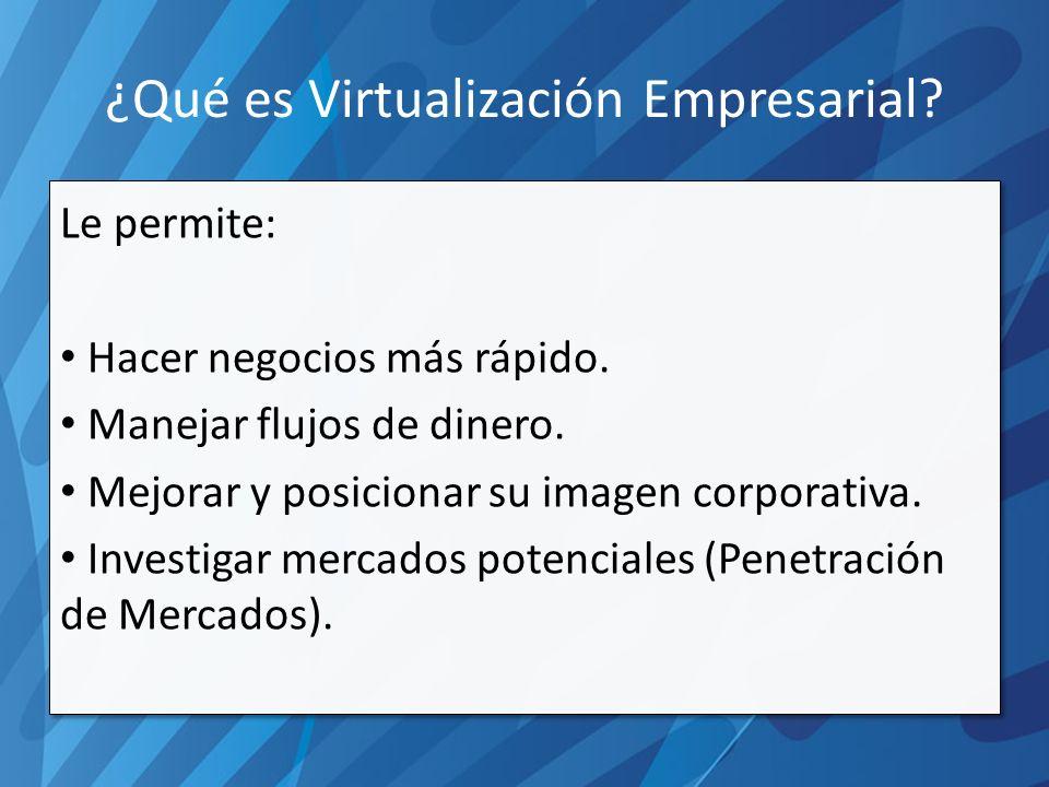 ¿Qué es Virtualización Empresarial. Le permite: Hacer negocios más rápido.