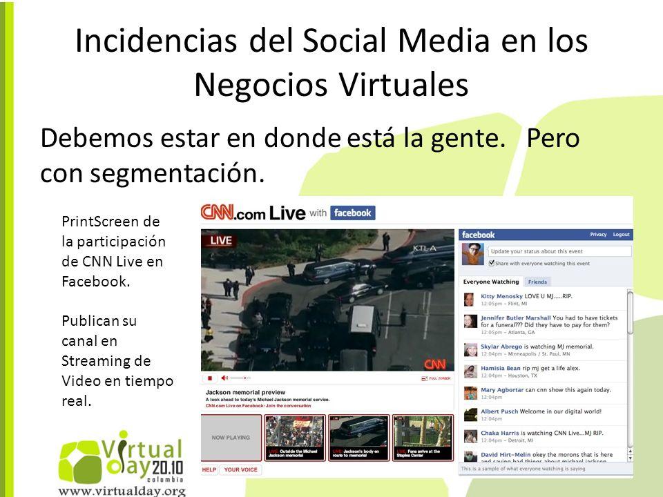 Incidencias del Social Media en los Negocios Virtuales Debemos estar en donde está la gente.