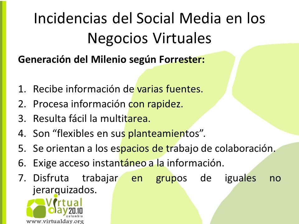 Incidencias del Social Media en los Negocios Virtuales Generación del Milenio según Forrester: 1.Recibe información de varias fuentes.