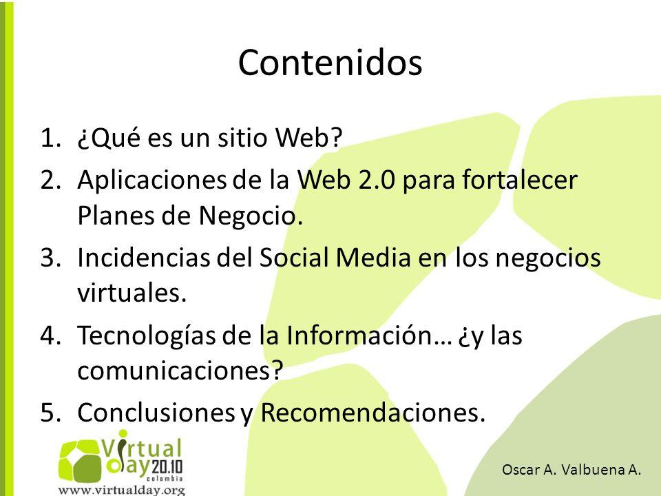 Contenidos 1.¿Qué es un sitio Web. 2.Aplicaciones de la Web 2.0 para fortalecer Planes de Negocio.