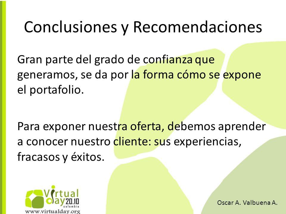 Conclusiones y Recomendaciones Gran parte del grado de confianza que generamos, se da por la forma cómo se expone el portafolio.