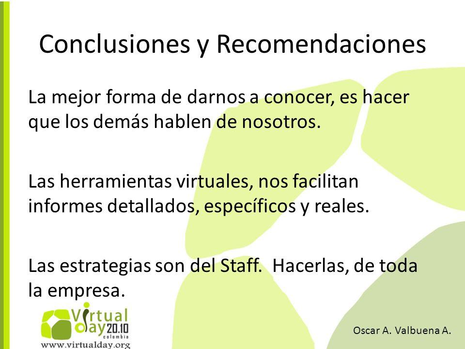 Conclusiones y Recomendaciones La mejor forma de darnos a conocer, es hacer que los demás hablen de nosotros.