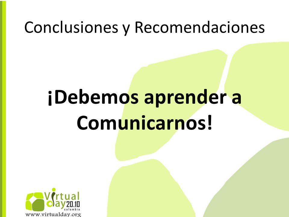 Conclusiones y Recomendaciones ¡Debemos aprender a Comunicarnos!