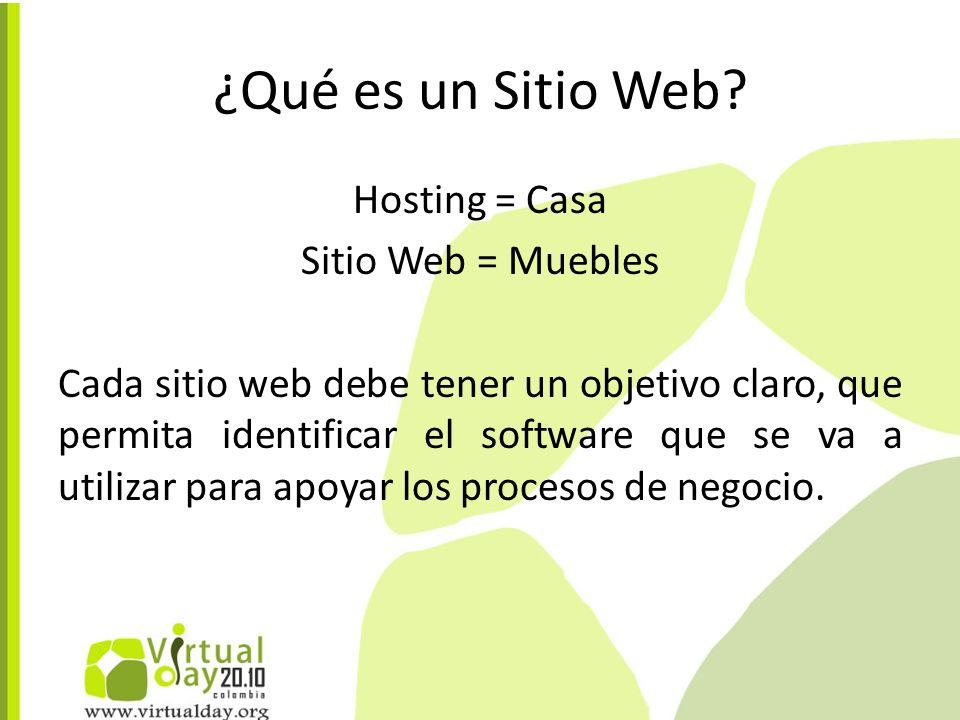 Hosting = Casa Sitio Web = Muebles Cada sitio web debe tener un objetivo claro, que permita identificar el software que se va a utilizar para apoyar los procesos de negocio.